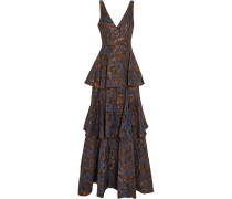 Tiered Jacquard Gown Navy