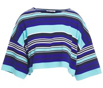 Cropped Striped Organic Cotton-blend Top