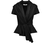 Pleated Wool-blend Peplum Jacket Schiefer