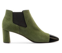 Suede And Patent-leather Ankle Boots Dunkelgrün