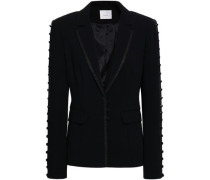 Button-detailed crepe blazer