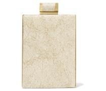 Metallic Printed Brushed-suede Clutch Gold