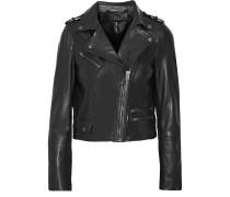 Collumba Cropped Leather Biker Jacket Schwarz