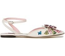 Crystal-embellished Floral-print Leather Point-toe Flats