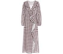 Ruffled Gingham Linen Midi Dress