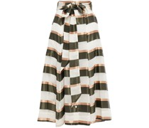 Belted Striped Voile And Satin Midi Skirt