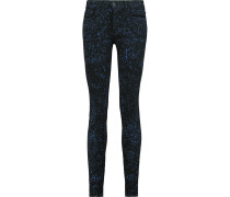 Low-rise Printed Slim-leg Jeans Schwarz