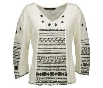 Zolia Embroidered Slub Cotton Top Ecru