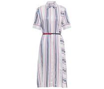 Belted Striped Wool-blend Midi Shirt Dress