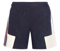 Iris embroidered linen-chambray shorts