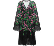 Wrap-effect Lace-paneled Printed Georgette Dress