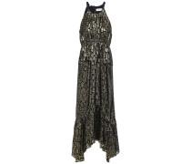 Woman Gathered Metallic Fil Coupé Silk-blend Midi Dress Gold