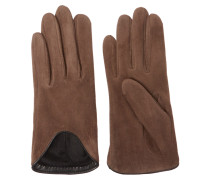Moto Leather-trimmed Suede Gloves Taupe