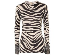 Embroidered Mesh-trimmed Zebra-print Satin-jersey Top