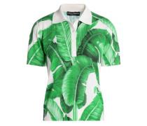 Printed silk-piqué polo shirt