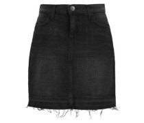 Frayed stretch-denim mini skirt