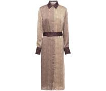 Belted Paneled Snake-print Satin Midi Dress