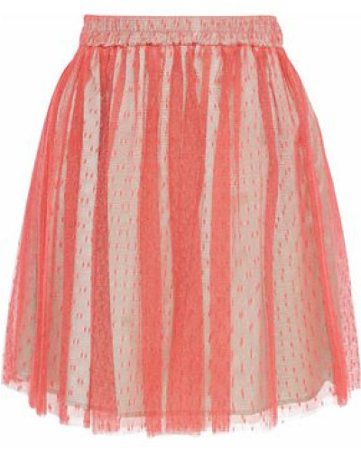 Pleated Point D'esprit Skirt Coral