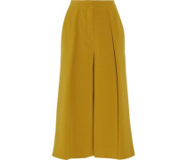 Deven satin-trimmed pleated crepe culottes