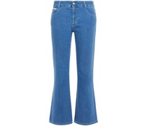 Embroidered Mid-rise Bootcut Jeans