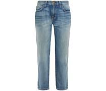 Cropped Boyfriend-jeans in Distressed-optik