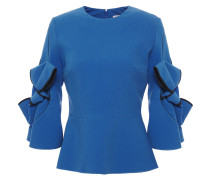 Woman Bow-embellished Crepe Peplum Top Cobalt Blue