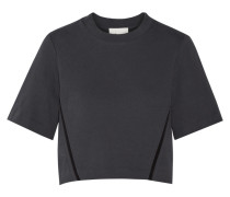 Cropped Silk-trimmed Cotton-terry Sweatshirt Schiefer