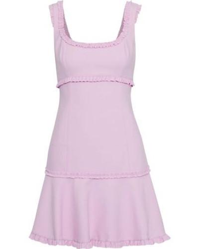 Woman Ana Fluted Ruffle-trimmed Cady Mini Dress Lilac