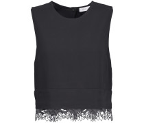 Nikos Cropped Guipure Lace-trimmed Crepe Top Schwarz