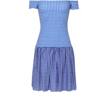 Diumitra Off-the-shoulder Gingham Stretch-jersey Mini Dress