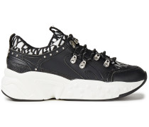 Woman Glitter-embellished Logo-print Faux Leather Sneakers Black