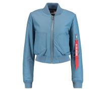 Cropped Padded Cotton-blend Bomber Jacket Azurblau