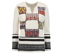 Patchwork Embroidered Knitted Sweater Elfenbein