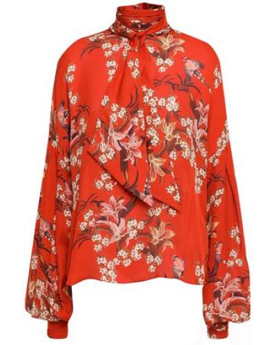 Tie-neck Floral-print Silk Blouse Brick Size 0