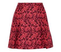 Calista pleated neon floral-jacquard mini skirt
