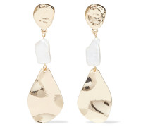 Hammered -plated Faux Pearl Earrings