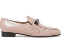 Studded Leather Loafers Neutral