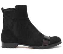 Glossed Leather-trimmed Suede Ankle Boots