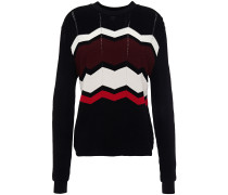 Pointelle-trimmed Intarsia-knit Sweater
