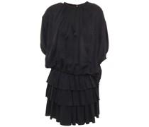 Gestuftes Minikleid aus Glänzendem Seiden-jacquard mit Raffung