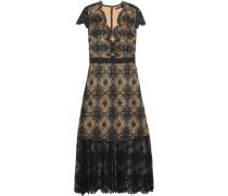 Garland Guipure Lace Midi Dress Schwarz