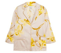 Floral-print silk-satin pajama top