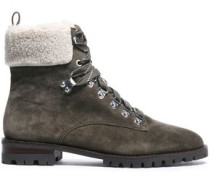 Woman Faux Shearling-paneled Suede Ankle Boots Army Green