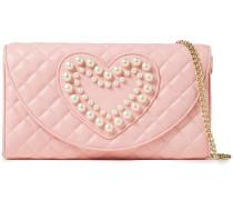 Faux Pearl-embellished Quilted Leather Shoulder Bag