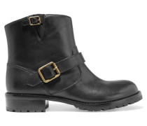Buckled Leather Ankle Boots Schwarz