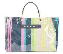 Tote Bag aus Canvas und Pvc mit Lederbesatz und Print