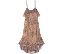 Harlequin Heriz printed crinkled silk-georgette dress