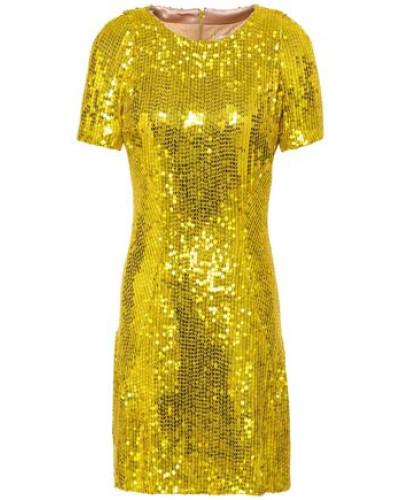 Sequined Silk-chiffon Mini Dress Yellow