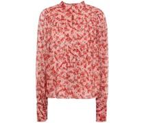 Bluse aus Crêpe De Chine mit Floralem Print und Raffung