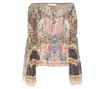 Off-the-shoulder Crystal-embellished Printed Jacquard Blouse